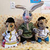Куклы и игрушки handmade. Livemaster - original item A set of theatrical tablet dolls. hedgehog, Hedgehog and Hare.. Handmade.