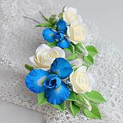 Свадебный салон ручной работы. Ярмарка Мастеров - ручная работа Шпилька и бутоньерка с цветами из полимерной глины. Handmade.