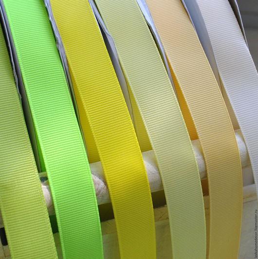 Лента репсовая 20мм, желто-зеленые тона