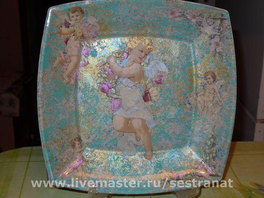 Тарелки ручной работы. Ярмарка Мастеров - ручная работа. Купить Ангелы в цветах. Handmade. Краски марабу (marabu)