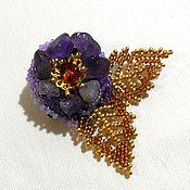 Украшения handmade. Livemaster - original item Brooch: amethyst flower. Handmade.