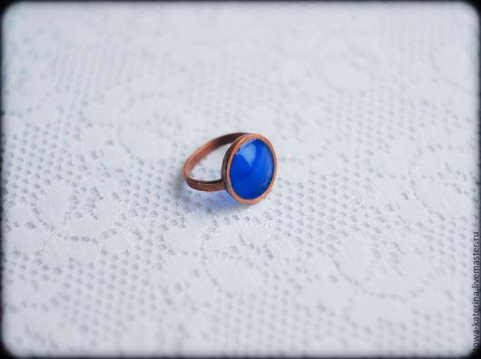 Кольца ручной работы. Ярмарка Мастеров - ручная работа. Купить колечко Синее. Handmade. Тёмно-синий, декоративное стекло