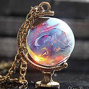 """Украшения ручной работы. Ярмарка Мастеров - ручная работа Кулон """"Закат на далекой планете"""" лэмпворк латунь глобус. Handmade."""