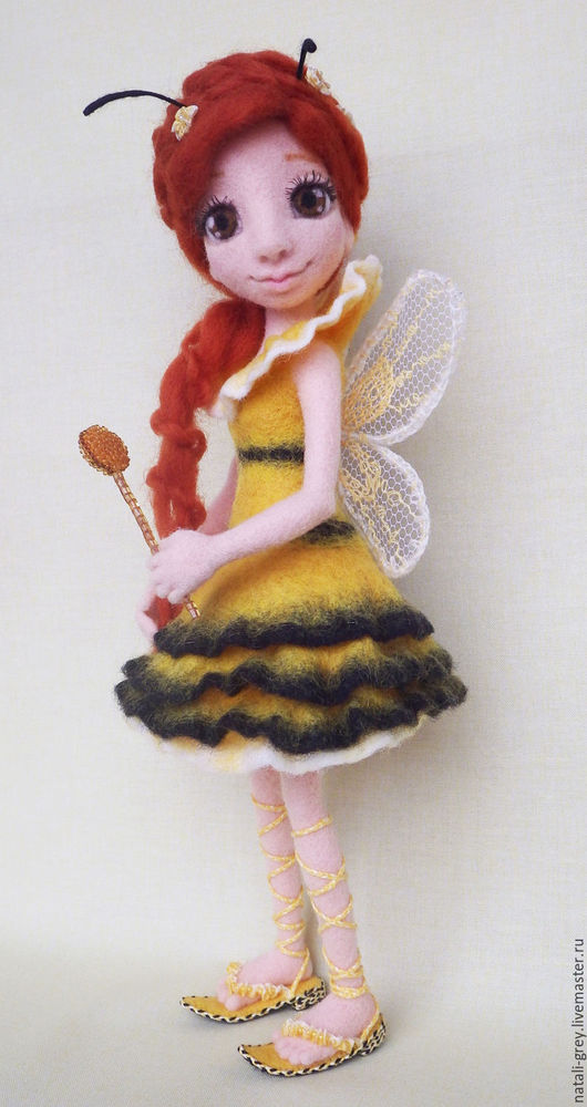 Коллекционные куклы ручной работы. Ярмарка Мастеров - ручная работа. Купить Пчелка-феечка. Handmade. Желтый, кукла из шерсти, крылья