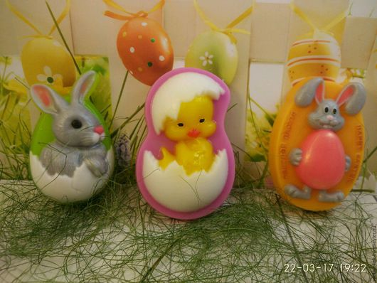 """Мыло ручной работы. Ярмарка Мастеров - ручная работа. Купить Сувенирное мыло """"Пасхальные малыши"""". Handmade. Пасха, кролик"""