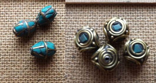 Для украшений ручной работы. Ярмарка Мастеров - ручная работа. Купить Бусины тибетские 2 вида. Handmade. Комбинированный, металл
