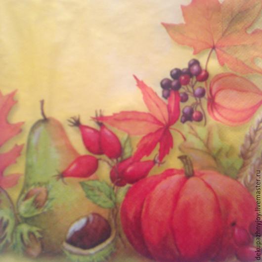 Тыква, груша, физалис, кизил. Золотая осень Салфетка для декупажа Декупажная радость