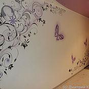 """Дизайн и реклама ручной работы. Ярмарка Мастеров - ручная работа Роспись стен """"Бабочки"""". Handmade."""
