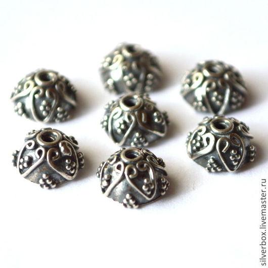 Два цвета C510 Шапочка Бали Серебро 925 пробы Для украшений от Нины(SilverBox)