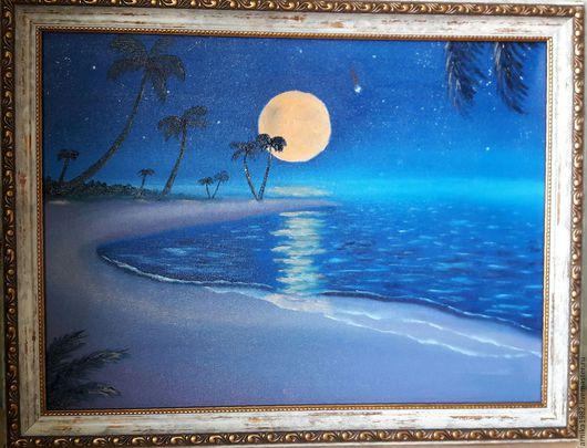 Пейзаж ручной работы. Ярмарка Мастеров - ручная работа. Купить Лунная ночь. Handmade. Тёмно-синий, ночь, полнолуние, луна