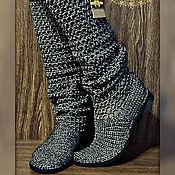 Обувь ручной работы. Ярмарка Мастеров - ручная работа Сапоги вязанные летние... Синтия... металлика... ручная работа. Handmade.
