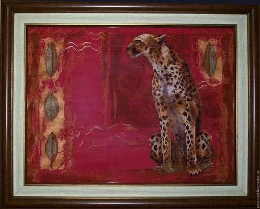Животные ручной работы. Ярмарка Мастеров - ручная работа. Купить Картина вышитая крестом Гепард. Handmade. Ярко-красный, гепард