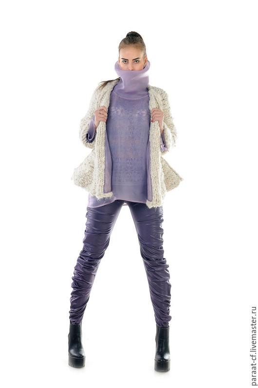 Брюки дизайнерские из стрейч-кожи с горизонтальной драпировкой. Дизайнерская одежда ручной работы. Cashmere Francesca.