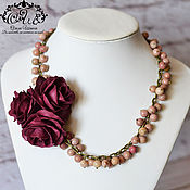 "handmade. Livemaster - original item Romantic necklace rhodochrosite with roses ""Victoria"". Handmade."
