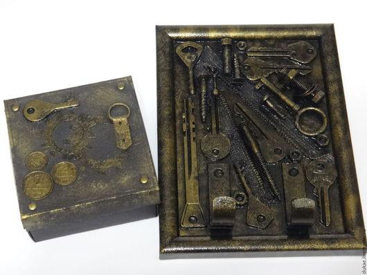 Стимпанк ручной работы. Ярмарка Мастеров - ручная работа. Купить Подарочная коробочка и ключница в стиле Стимпанк. Handmade. Черный