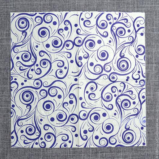 СФ-335359. Салфетки бумажные `Абстрактный рисунок синий`