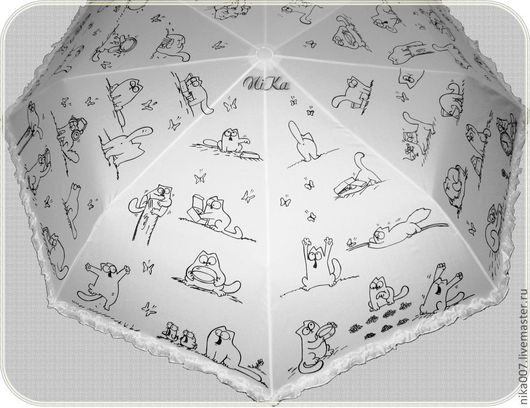 Зонты ручной работы. Ярмарка Мастеров - ручная работа. Купить Расписной зонт с котами Саймона. Handmade. Чёрно-белый, роспись