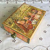 """Для дома и интерьера ручной работы. Ярмарка Мастеров - ручная работа Короб-пенал для хранения """"Пасха в лисьем лесу"""". Handmade."""