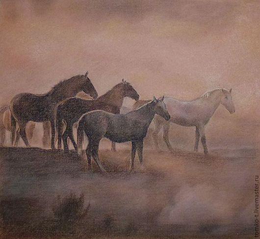 Животные ручной работы. Ярмарка Мастеров - ручная работа. Купить в утреннем тумане. Handmade. Лошади, предрассвет, кони, табун