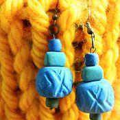 Серьги классические ручной работы. Ярмарка Мастеров - ручная работа Серьги: Голубые серьги в стиле бохо. Handmade.