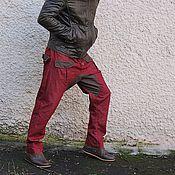Одежда handmade. Livemaster - original item Pants jeans breeches unisex with pockets Burgundy and Khaki. Handmade.