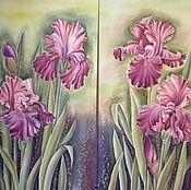 """Картины и панно ручной работы. Ярмарка Мастеров - ручная работа Батик-панно """"Мои ирисы"""" диптих. Handmade."""