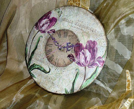 "Часы для дома ручной работы. Ярмарка Мастеров - ручная работа. Купить Часы настеные ""Сага о  тюльпанах"". Handmade. Белый, тюльпаны"