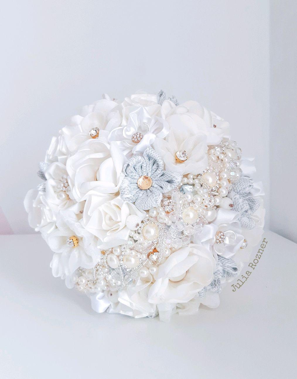 Свадебный брошь букет невесты белый, серебро, золото, Свадебные букеты, Москва,  Фото №1