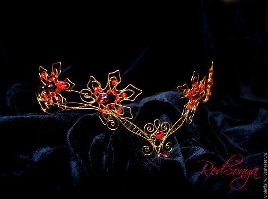 """Диадемы, обручи ручной работы. Ярмарка Мастеров - ручная работа. Купить Диадема """"Царица осеннего леса"""". Handmade. Золотой, средиземье"""