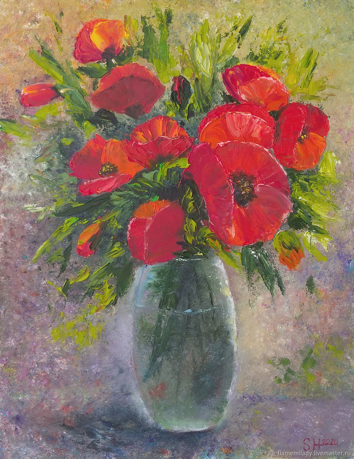 Painting with poppies Bouquet of red poppies oil painting, Pictures, Ekaterinburg,  Фото №1