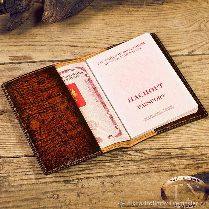 Кожаная обложка на паспорт с Гербом TNOther19, Обложки, Владимир,  Фото №1