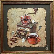 Картины и панно ручной работы. Ярмарка Мастеров - ручная работа кофейный натюрморт. Handmade.