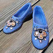 Обувь ручной работы handmade. Livemaster - original item Loafers embroidered Blue. Handmade.