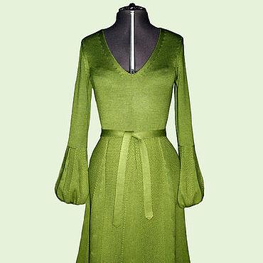 Одежда ручной работы. Ярмарка Мастеров - ручная работа Платье с прессовым рисунком зеленое. Handmade.