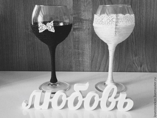 Свадебные аксессуары ручной работы. Ярмарка Мастеров - ручная работа. Купить Свадебные бокалы. Handmade. Чёрно-белый, бокалы для свадьбы