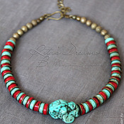 Украшения handmade. Livemaster - original item Choker Turquoise-coral short beads with coral and turquoise striped. Handmade.