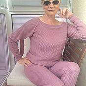 Одежда ручной работы. Ярмарка Мастеров - ручная работа Вязаный костюм пепельно розового цвета.Меринос. Handmade.