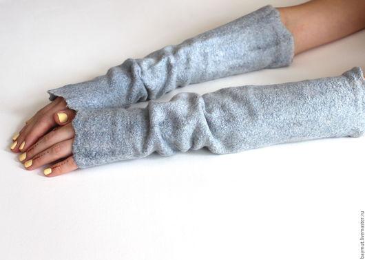 Варежки, митенки, перчатки ручной работы. Ярмарка Мастеров - ручная работа. Купить Mитенки-рукогрейки валяные. Handmade. Длинные митенки