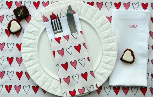 """Кухня ручной работы. Ярмарка Мастеров - ручная работа. Купить Комплект """"Сердечки на белом"""". Handmade. Комбинированный, романтика, плейсматы"""