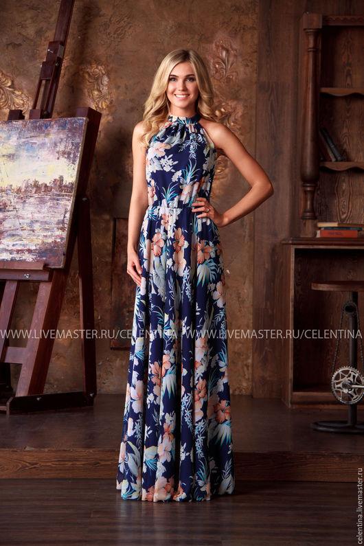 Длинное летнее платье без рукавов, Синее нарядное платье в пол, красивое платье из шифона, платье на выход, цветочное темно синее платье, пляжное платье, модное платье, летнее платье, сарафан