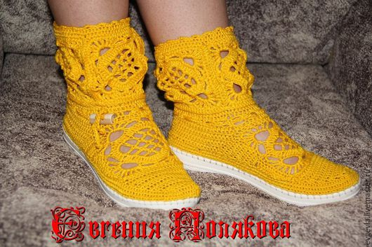 Обувь ручной работы. Ярмарка Мастеров - ручная работа. Купить Сапожки летние. Handmade. Желтый, пляжная мода, пвх