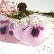 Украшения handmade. Livemaster - original item Earrings with Real Lilac Purple Petals of Boho Eco Flowers. Handmade.