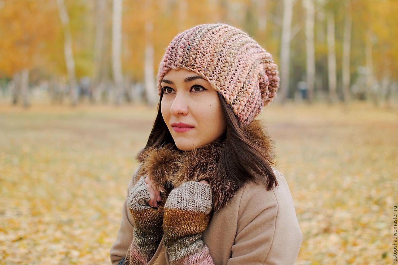 шапка биникарамель вязанная спицами бохо купить в интернет