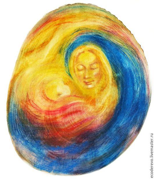 """Люди, ручной работы. Ярмарка Мастеров - ручная работа. Купить Картина на спиле """"Мать и дитя"""". Handmade. Разноцветный, вальдорфская"""