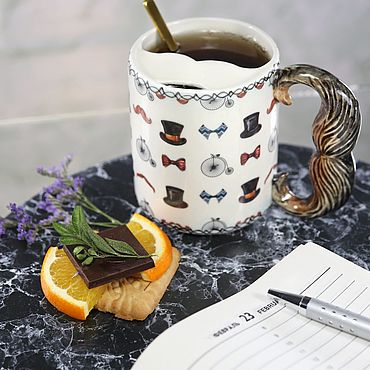"""Посуда ручной работы. Ярмарка Мастеров - ручная работа Чашка для усов """"Хипстер"""" фарфоровая. Handmade."""