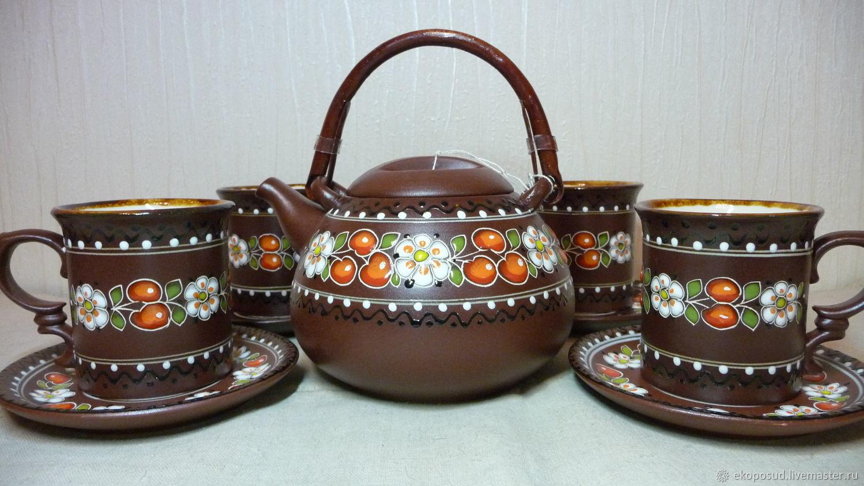 Набор чайный, чайник, 4 чашки, чайник и чашки, сервиз чайный, Чайники, Харьков,  Фото №1