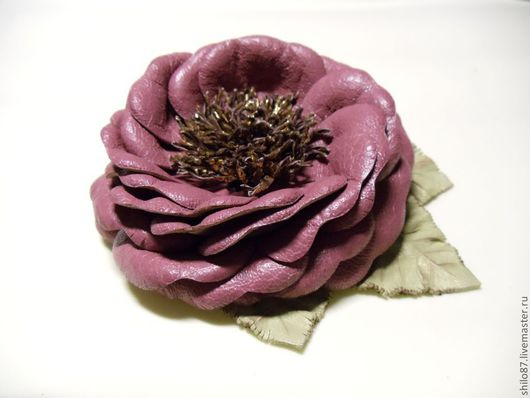 """Броши ручной работы. Ярмарка Мастеров - ручная работа. Купить Брошь из кожи """"Розалия"""". Handmade. Брошь, брошь в форме цветка"""