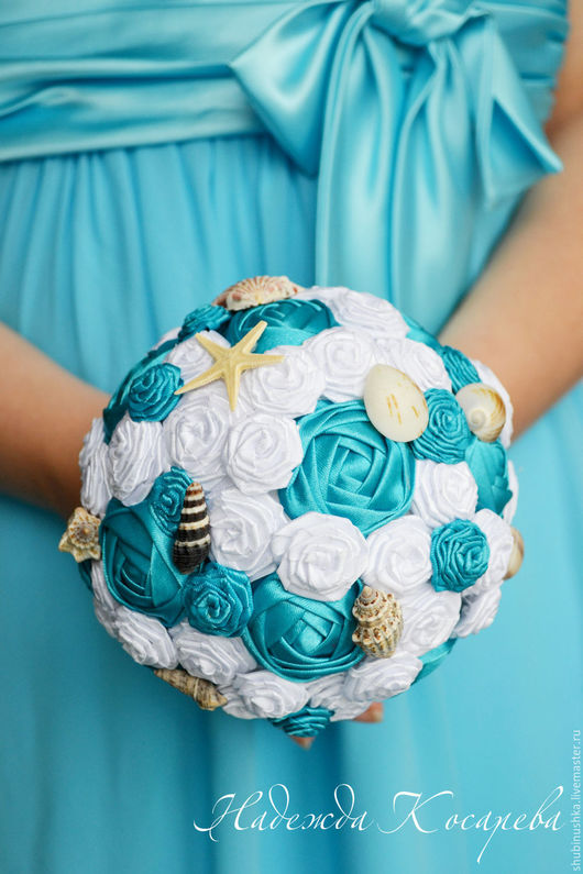 """Свадебные цветы ручной работы. Ярмарка Мастеров - ручная работа. Купить Букет невесты """"Голубая лагуна"""". Handmade. Синий"""