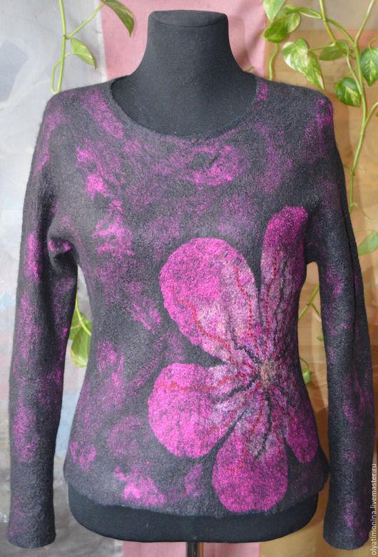 """Кофты и свитера ручной работы. Ярмарка Мастеров - ручная работа. Купить Свитер двухсторонний """"Цветы"""". Handmade. Комбинированный, валяный свитер"""
