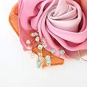 """Украшения ручной работы. Ярмарка Мастеров - ручная работа Брошь """"Японская роза"""", брошь шелковая, брошь цветок. Handmade."""